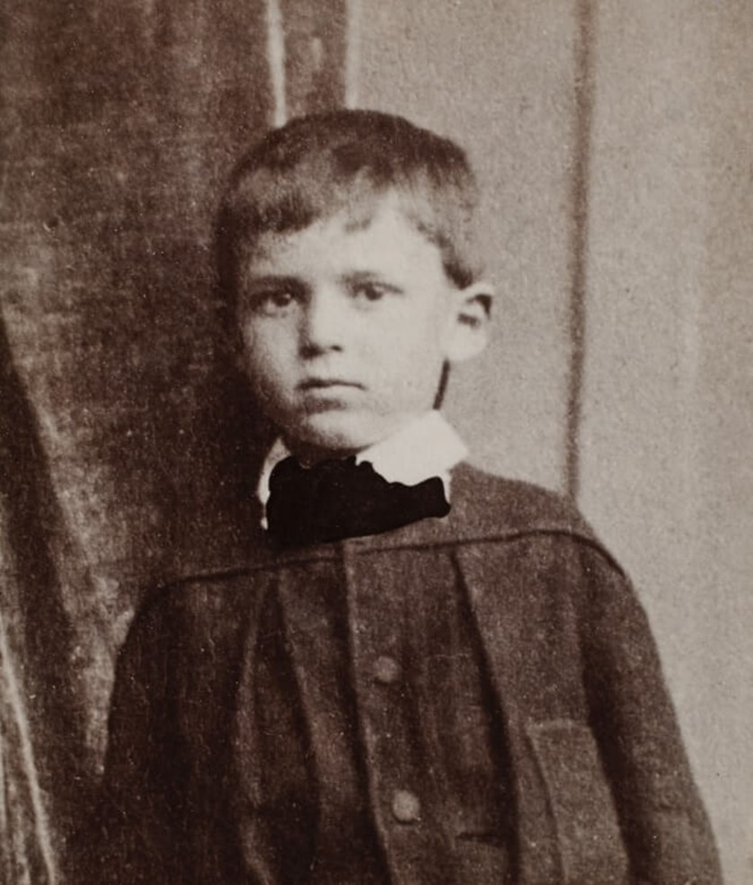 Young boy: Frank Worsley lost his mother at age two and was put to work clearing trees at age 10. Image credit: Akaroa Museum. Photographer unknown, c.1877