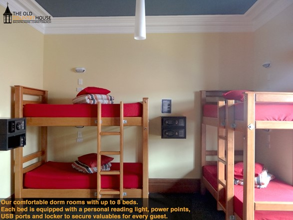 6-8 bed dorm rooms, with personal reading lights, power points and personal safes.