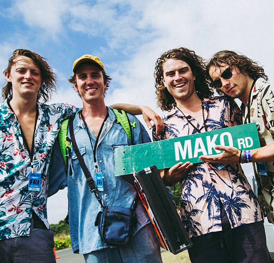Mako Road Band Members With Road Sign