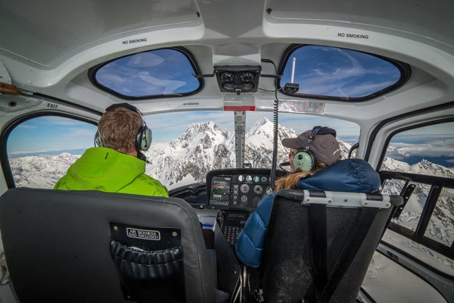 Inside Helicopter Mount Cook