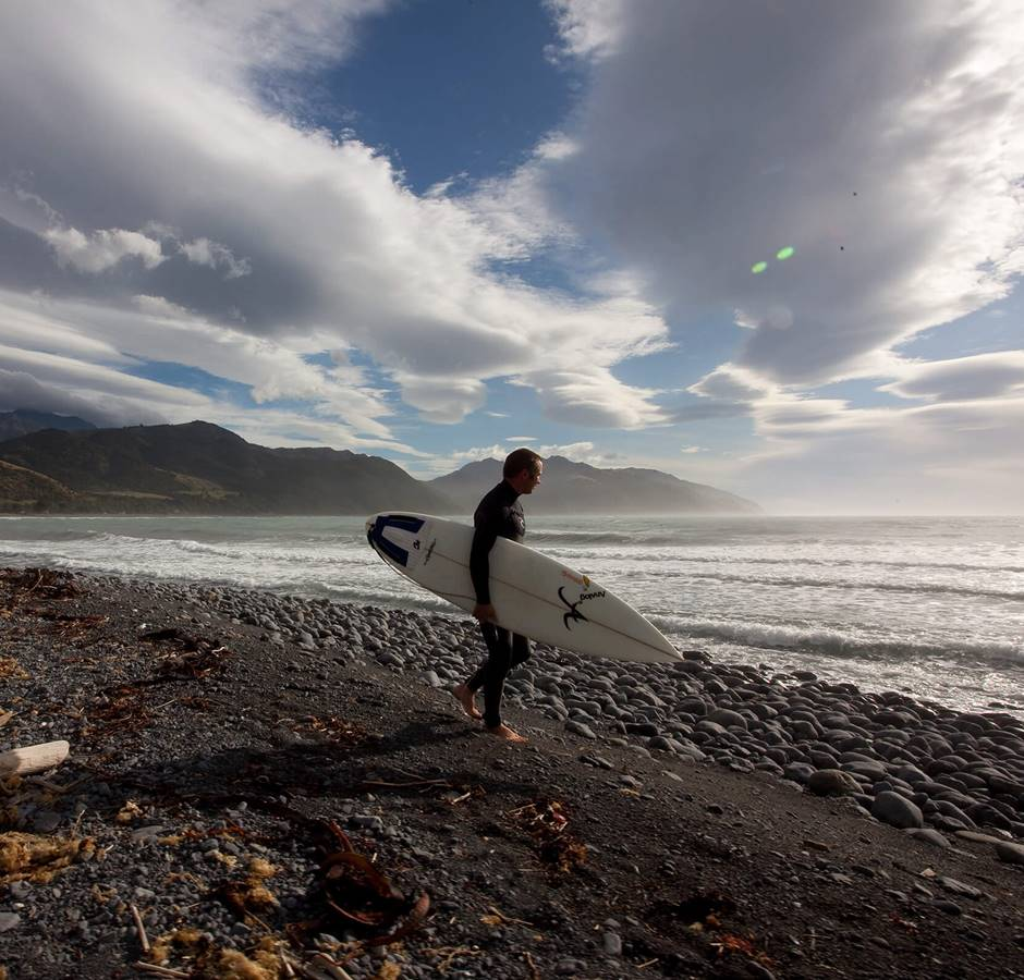 Surfer in Kaikoura