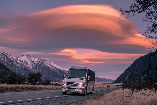 Mercedes-Benz Sprinter 16-seater on a sightseeing tour from Christchurch to Queenstown via Mt Cook