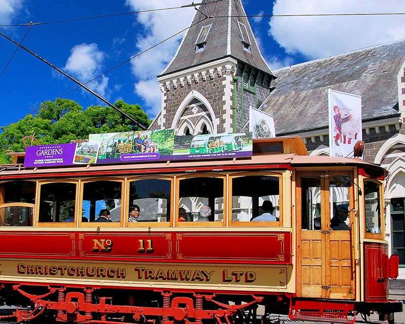 Christchurch Attractions Tram Outside Canterbury Museum