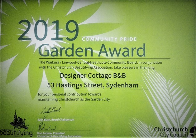 Christchurch B&B Garden Awards 2019 Designer Cottage B&B