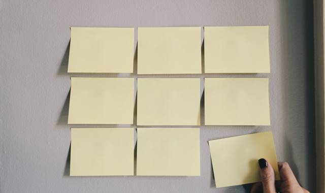 Business Post Its On Wall