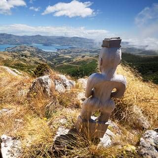 Statue looking over Akaroa Harbour