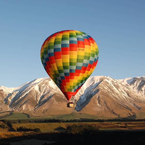 Hot Air Balloon and Mountains