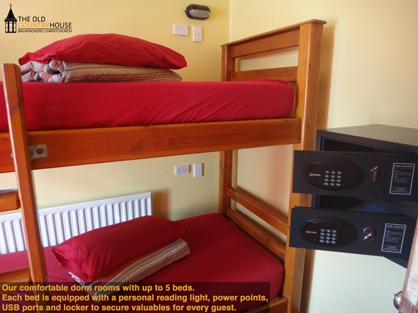 4-5 bed dorm room, with personal reading lights, power point and individual safes.