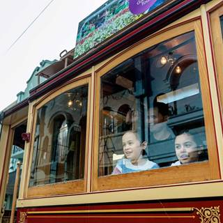 ExploreCHC Children At Tram Window In Christchurch