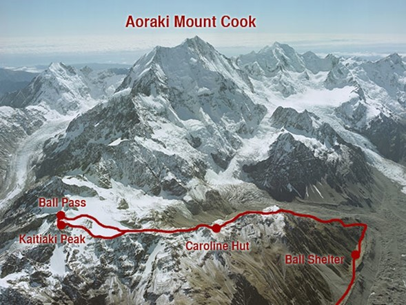 Aerial shot of Aoraki Mount Cook, showing the route of the Ball Pass Summit Trek