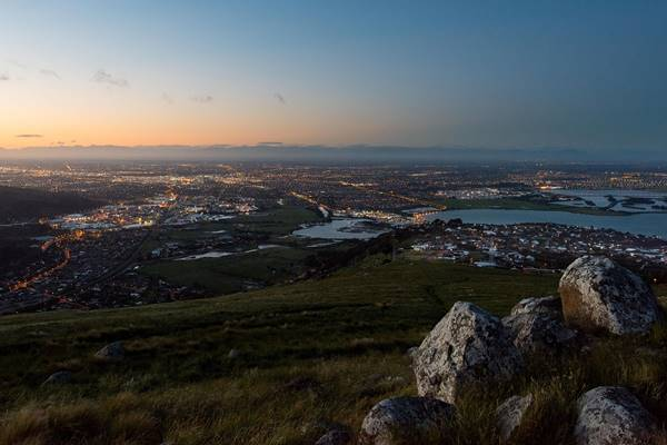 Christchurch Port Hills View of Christchurch City at Sunset