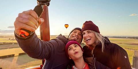 ExploreCHC Family Taking Selfie In Hot Air Balloon