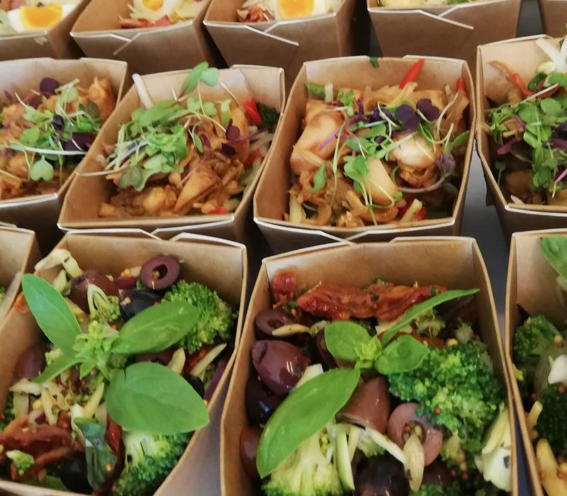 Lincoln University Catering salad boxes