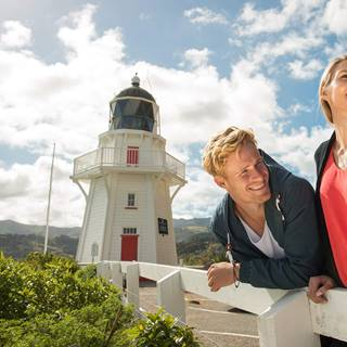 People in front of Akaroa Lighthouse