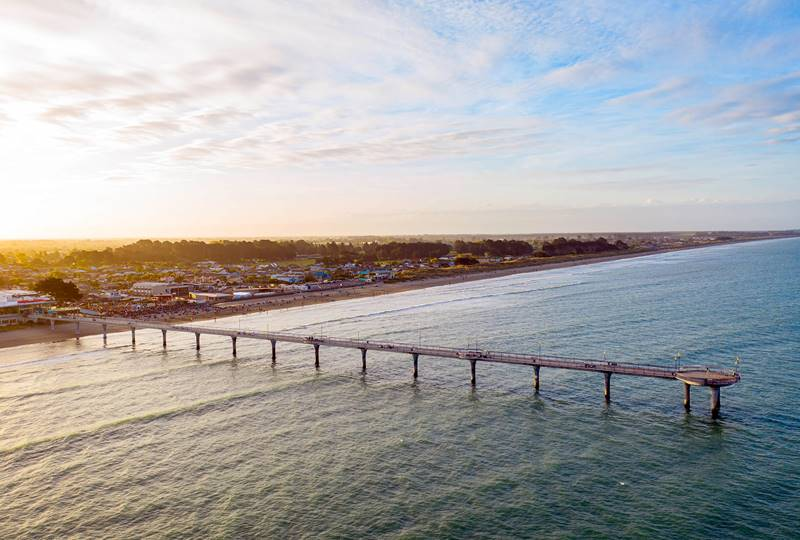 Hero Christchurch New Brighton Sunset Pier Drone